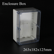 263*182*125MM Waterproof Plastic Case DIY Junction Box Joint Hinged Lid with transparent Clear cover 263x182x125MM