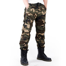 2017 Men's Cargo Pant Baggy Casual Men Tactical Pant Multi Pocket Military Overall Male Outdoors Long Trouser Army Camouflage(China)