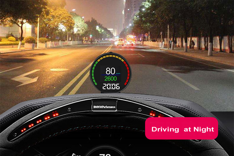P15 Smart Car Head Up Display HUD with Windshield Digital Motor Speed Meters Projector OBD2EUOBD Interface for 99% of Vehicles_F11