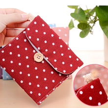 cotton napkin bag health bag Cute cartoon cloth sanitary napkins sanitary pad storage bag 11.5x11.5cm(China)