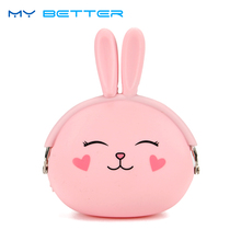 Kawaii Fashion Coin Purse Lovely Kawaii Cartoon Rabbit Pouch Women Girls Small Wallet Soft Silicone Coin Bag Kid Gift(China)