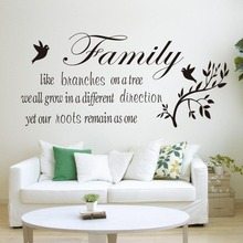 Family likes branch quotes wall stickers decal Home decoration Flying Black Birds Living Room Bedroom Mural Poster