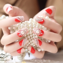 2017 New 24pcs Boxed Noble Bride red False Nails irregular Big pearl French Glitter Diamond Artificial Nail Wedding Party F104