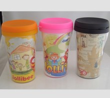 promotional thermal photo insert tumbler,travel mug,250ml double plastic wall tumbler with paper insert(China)