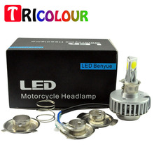 Wholesale 25pcs LED Motorcycle Headlight Bulb H4 H6 H7 18W COB Chip 1800LM  Hid Motorbike Bulbs  Headlamp DRL white #LN40