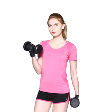 2017 New Best Women Quick Dry Gym Sports T-shirt Yoga Tops Round Neck Short Sleeve Fitness Runnging Gymnastics Clothes Girl(China)