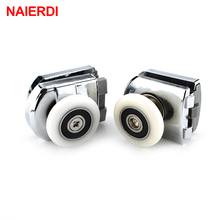 NAIERDI Runners Rubber Shower Wheels Stainless Steel Brass Shower Pulleys Replacement Door Rollers For Bathroom Fixture Hardware(China)