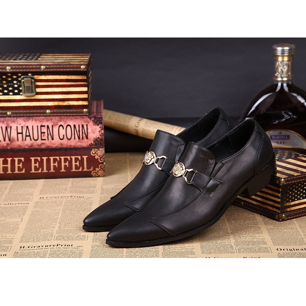 New Arrival 2017 Pointed Toe Mans Natural Cowhide Leather  Wedding Black Business Dress Shoes Mens Horsebit Loafer 030<br><br>Aliexpress