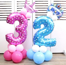 Large 30inch 1PC pink blue number foil balloons aluminum helium ballon Happy birthday party decoration Wedding globos supplies(China)