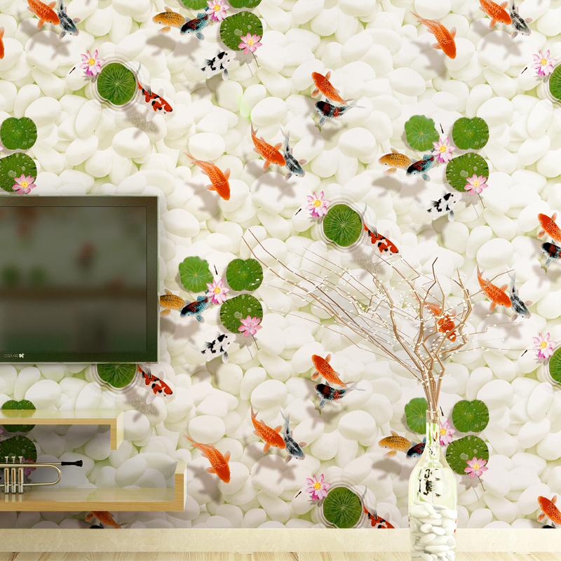 3D Modern Chinese Style Wallpaper Roll Fish Wallpapers for TV Sofa Background,Non Woven Wall Paper Cobble for Walls Home Decor<br>