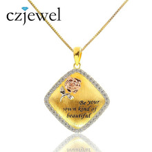 Fashion Women 925 sterling silver Necklace AAA Grade Zircons Square Pendant for Women Drawing Design Beauty Rose For Lover(China)
