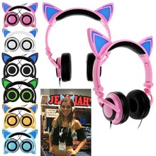 3.5mm Cute Cat Ears Headphones Cartoon  LED Flashing Music Headset Gaming Earphone Universal  @JH