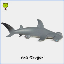 Mr.Froger Smooth Hammerhead Shark Sphyrna Zygaena Aquatic Creatures Wild Animals Toys Set Zoo Modeling Plastic Solid Fish Model