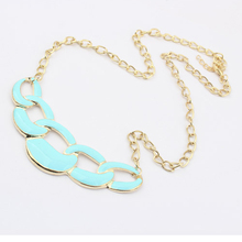 2017 New Fashion Hot-Selling Cheap Happy Baby Alloy Fashion Necklace Blue Jewels Joker Short Statement Necklace For Women 66N413