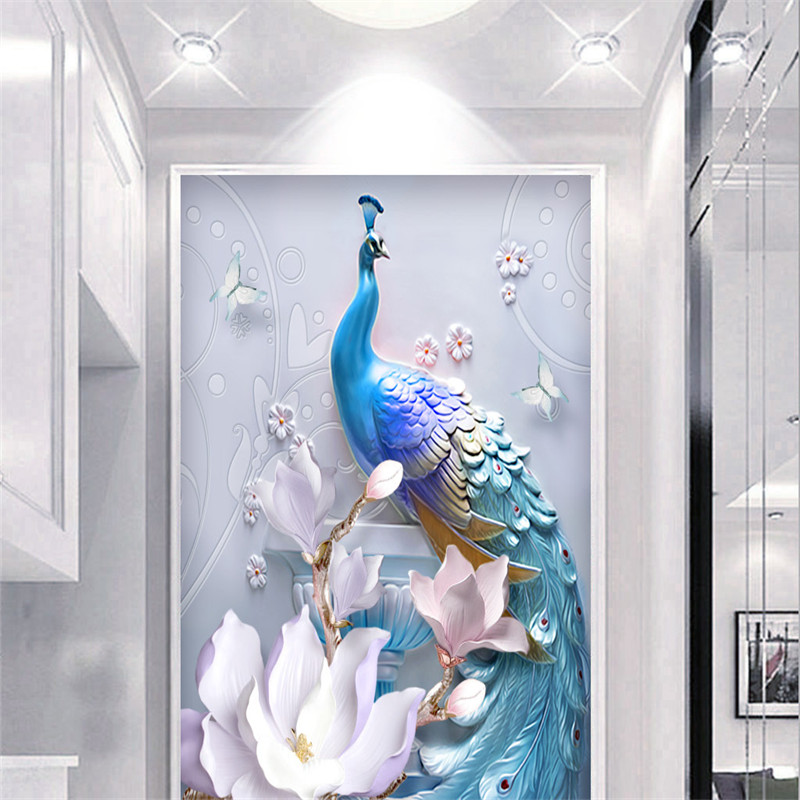 3D Custom Photo Wallpapers Embossed Peacock Corridor Murals Flowers Hallway Walls Papers Hotel Lobby for Living Room Home Decor<br>