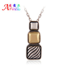 collares vintage accessories for men women jewelry Antique silver chain gold two-tone plated Square pendant channel necklace