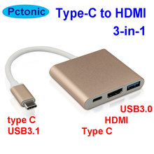 PCTONIC combo 3-in-1 Type-C to HDMI HUB adapter HDMI Hub convertor For Mobile phone MacBook type-C devices