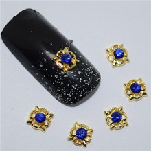 10pcs 3d nail jewelry decoration nails art glitter rhinestone for manicure Blue gem design nail accessories tools #170(China)