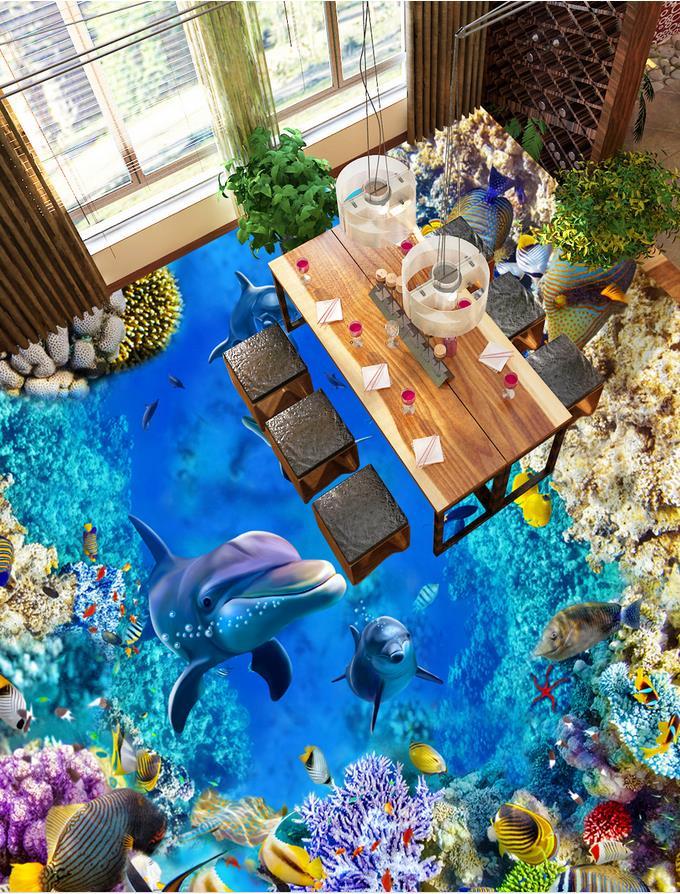Photo wallpaper mural floor dolphin 3d floor wallpapers  Home Decoration  self-adhesive 3D floor 3D mural floor<br><br>Aliexpress