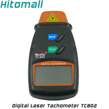 Handheld Digital Laser Tachometer 99, 999 RPM Meter Non-Contact Motor Speed Gauge Revolution Spin Photo Tachometer TC802