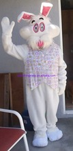 New arrival 2014 Cartoon Character Adult Easter Bunny Costume L XL Mascot Comic Rabbit Fake Fur Vest Egg Hunt