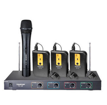Takstar TC-4R VHF Wireless Microphone 3Lavalier mic+1 Handheld mic for Broadcasting, program hosting, outdoor activities