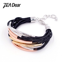 ZEADear Jewelry Fashion Jewelry 2017 Jewelry Findings Leather Bracelet For Men Women Statement Hide Rope Chain Cuff For Party(China)