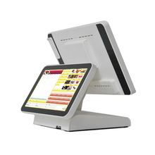 The 15-inch pos system has a 12-inch LCD display that displays commercial computers, retail, and restaurant checkout pos