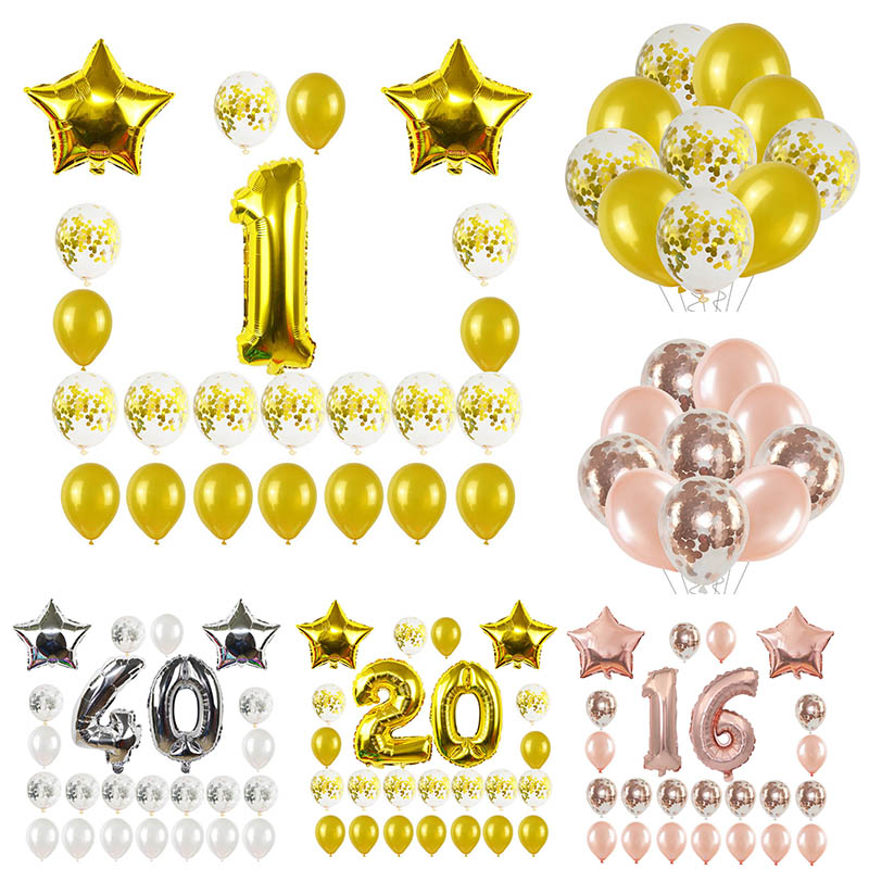 Rose Gold Silver Happy Birthday Balloon Set 40 inch Number Star Confetti Balloons 1 18 21 30 50 60th Birthday Anniversary Decor
