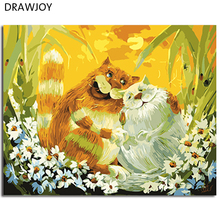 Cats Frameless Picture Painting By Numbers DIY Coloring By Numbers On Canvas Fashion Cats Home Decor 40*50cm Painting GX3183(China)