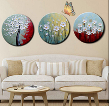 Hand Painted 3pcs Modern Abstract Flower  WITH FRAME Oil Paintings Love Heart Drawing Canvas Art a10