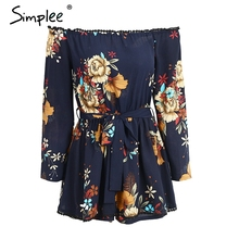 Simplee Off shoulder print rompers womens jumpsuit Casual sashes elastic high waist chiffon playsuit 2017 summer short overalls