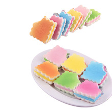 1PCS Random Color Dollhouse Miniature Food Soft Biscuits Squishy Cute Cell Phone Charm Key Straps Decorative Craft