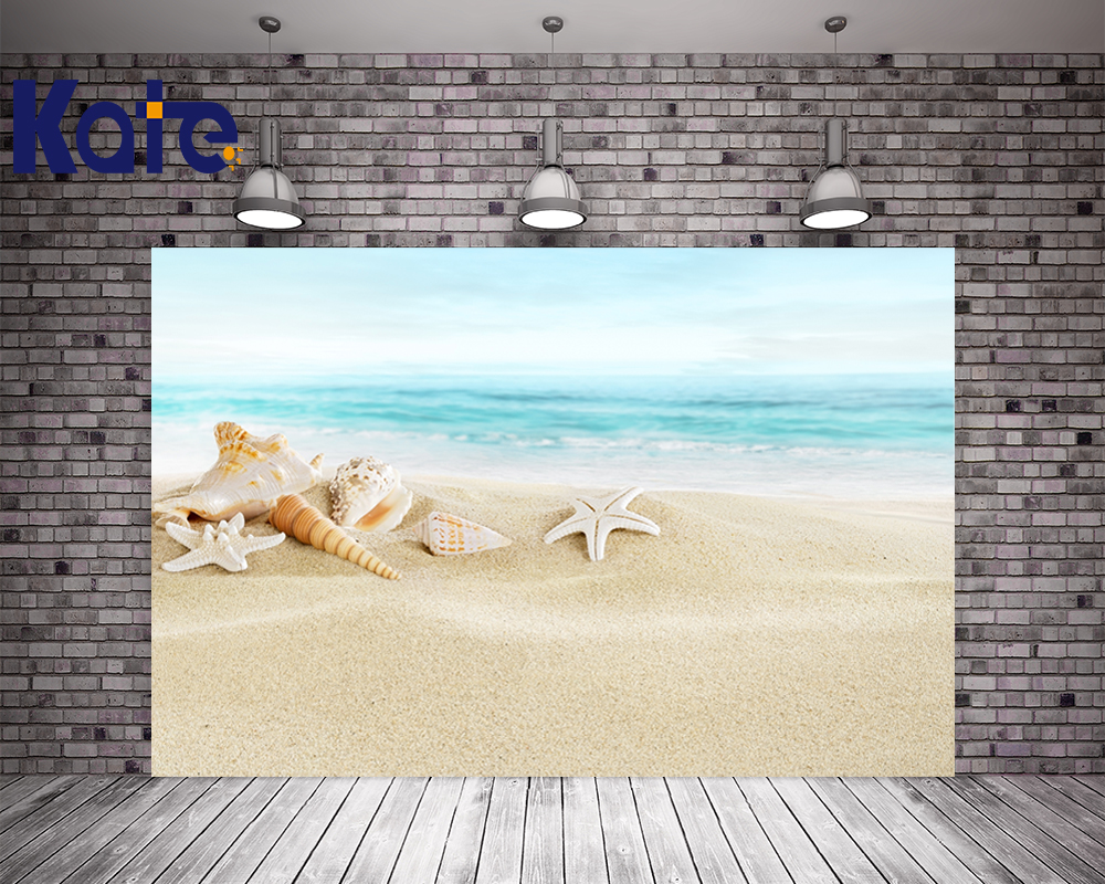 10x10ft Kate Summer Seaside Beach Photography Wedding Backdrops Backgrounds Starfish Conch Photo Background Photography Backdrop<br>