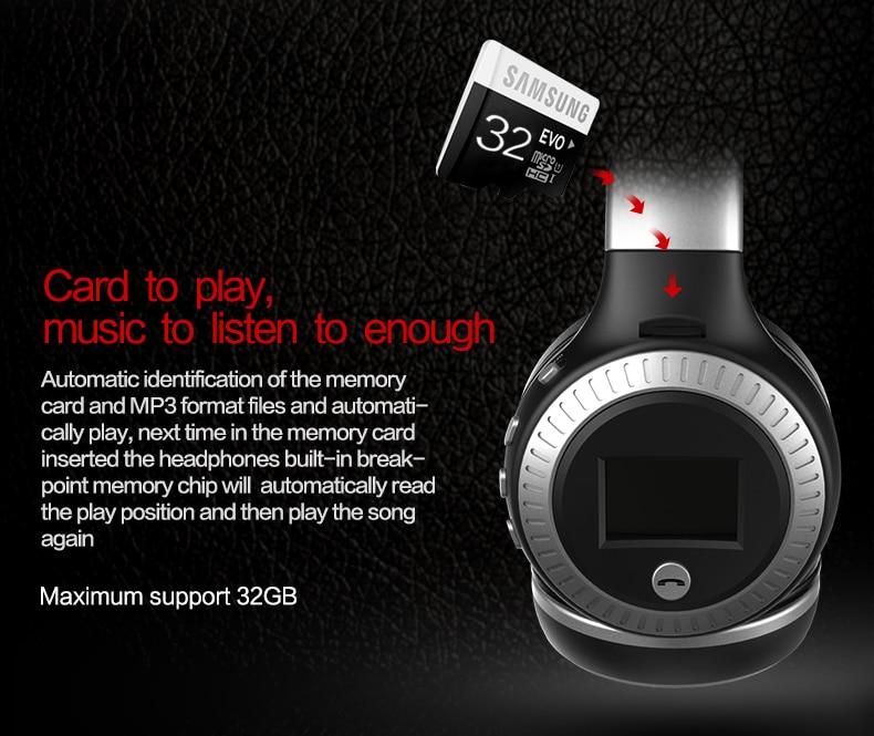 Zealot B19 Wireless Headphones LCD Display Screen HiFi Bass Stereo Earphone Bluetooth Headset with Mic + FM Radio + TF Card Slot 11