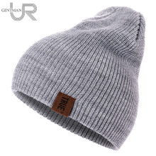 1 stücke Hut PU Brief Wahre Casual Mützen für Männer Frauen Warm Gestrickte Winter Hut Fashion Solid Hip-Hop Beanie Hut unisex Kappe(China)