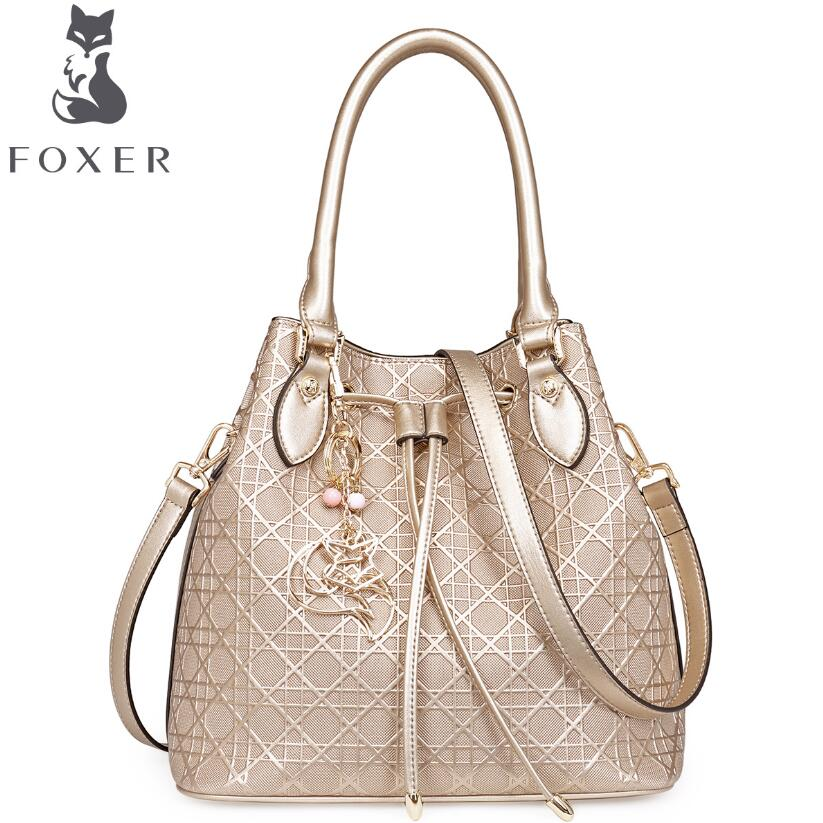 FOXER 2016 new superior cowhide women genuine leather bag fashion bucket bag famous brands women leather handbags Tote shoulder<br><br>Aliexpress