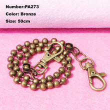 PA273 New 1pcs Purse Frame Hanger Chain 50cm Bronze Metal Lobster Clasps Purses Accessories Handles Handbags Diy Bag Parts