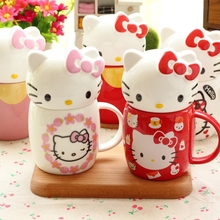 For girls !!! Very cute hello kitty ceramic mugs with lid and spoon gift for classmate