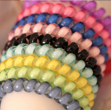 7 pcs Cheap 6.5cm Big Candy Color Headdress Hair Band / Hair Accessories Telephone Line Good Elastic Hair Rope for Women
