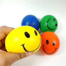 12PCS 6.3cm Smile Face Print Sponge Foam Ball Squeeze Stress Ball Relief Toy Hand Wrist Exercise PU Rubber Toy Balls(China)