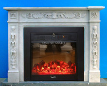 elegant English style fireplace set W130cm carved natural stone fireplace mantel surround plus electric fireplace insert(China)