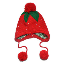 Hair Accessories Kids Girls Baby Knitting Crochet Hat Strawberry Pattern Cap 4 Colors 1-6 Years