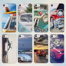 Retro summer volkswagen bus beach art design transparent clear Cases Cover for Apple iPhone 6 6s Plus 7 7Plus SE 5 5s 4s 5c