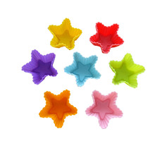 12 Pcs Color Random Star Type Soft Silicone Cake Muffin Chocolate Cookie Cupcake Liner Baking Cup Mold #614