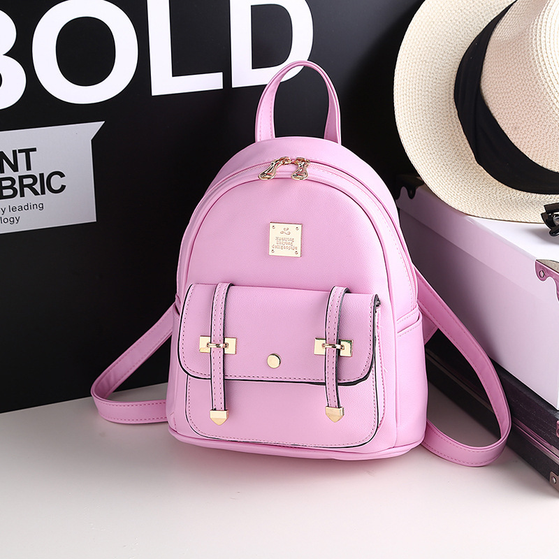 New stylish retro style hot bag with black metal trim PU zipper Backpack <br><br>Aliexpress