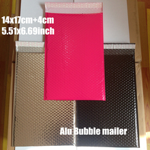 14x17cm(5.51x6.69'')20pcs Silver Black Pink Padded Shipping Envelope Metallic Bubble Mailer Aluminum Foil Gift Bag Packing Wrap