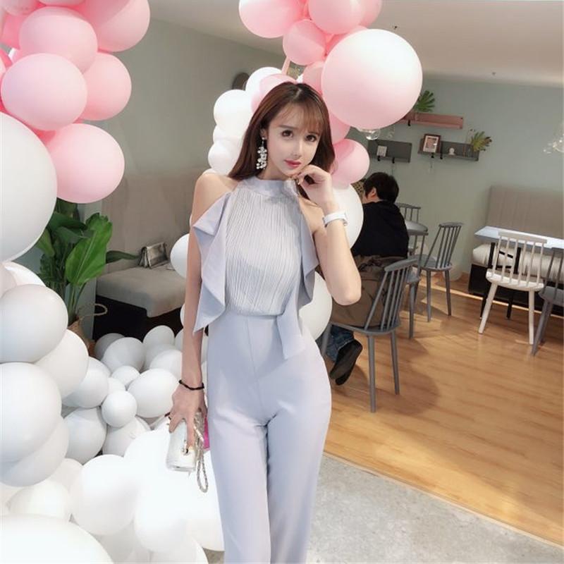 9f63cafcb8b 2019 Office Lady Style Korean Version Wide Leg Jumpsuit 2018 Summer ...