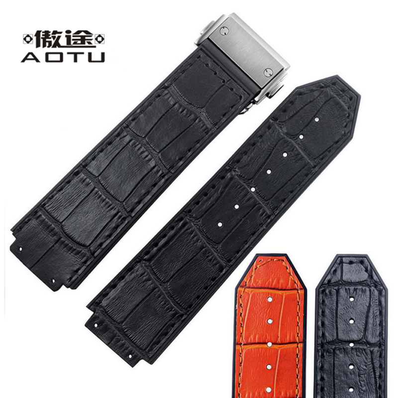 Genuine Leather Watchbands For HUBLOT Watch 3 Colors Men Leather Watch Straps Top Quality Male Watch Bracelet Belt 25MM Straps<br>
