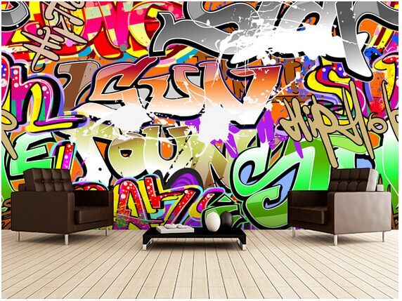 Custom 3D art wallpaper, Graffiti Art Urban murals for apartment building in the background of the wall vinyl papel de parede<br>